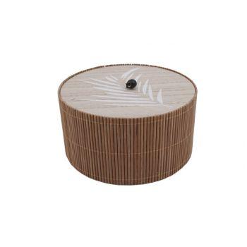 Cosy @ Home Box Brown 17,8x17,8xh9,5cm Round Wood