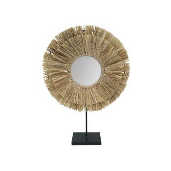 Cosy @ Home Mirror Raffia Nature 27,2x6xh38,2cm Roun