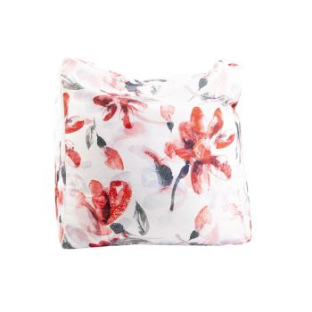 Cosy @ Home Pouf Pink Flowers White 55x55xh38cm Poly