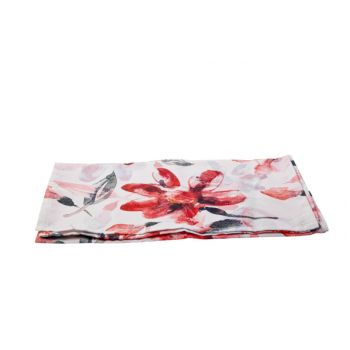 Cosy @ Home Tablerunner Pink Flowers White 40x140cm