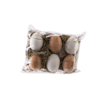 Cosy @ Home Easter Egg Set6 Natuur White H6cm