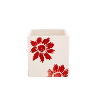 Cosy @ Home Flowerpot Flowers Red 10x10xh10cm Square