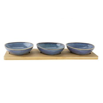 Cosy & Trendy Serving Plate 31x11xh4cm Bamboo + 3 Bowl