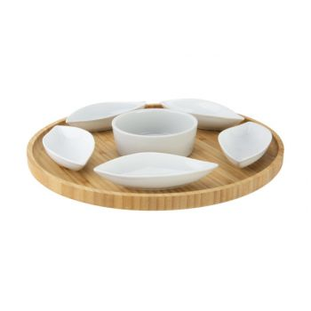 Cosy & Trendy Serving Plate D26xh3cm Round Bamboo+6