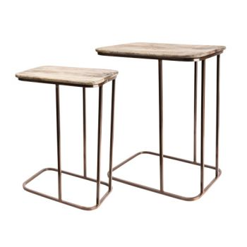 Cosy & Trendy Wood-copper Side Table Set2 49x34x60cm