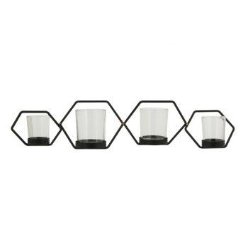Cosy @ Home Tealight Holder Hexagon 4p Black 53,5x14