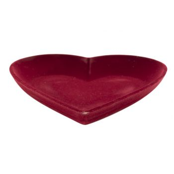 Cosy @ Home Heart Flocked Red 25x25xh3,8cm Wood