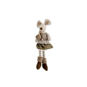 Cosy @ Home Figure Mouse Girl Brown 14x11x40cm Texti