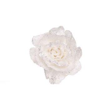 Cosy @ Home Glitter Rose On Clip White D10cm