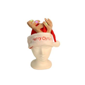 Cosy @ Home Santa Hat With Lighted Deer Antler