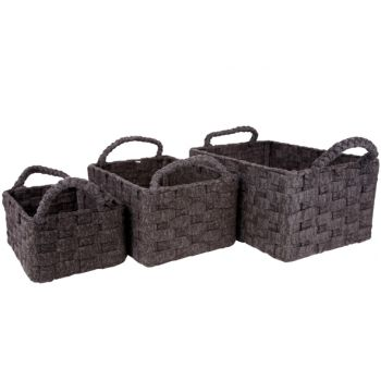 Cosy & Trendy Basket Twist Grey Set3 Rect