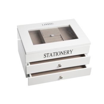Cosy & Trendy White Wooden Jewellery Box 3levels 26x