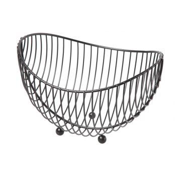 Cosy & Trendy Fruit Basket Chrome Oval Black 25.2x22x