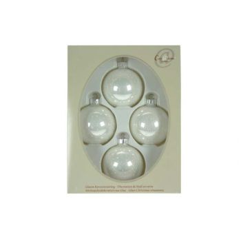 Cosy @ Home Glass Ball 4pcs 7cm Pearl White+dots