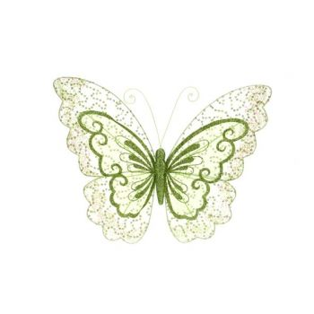 Cosy @ Home Butterfly On Clip Glitter 34x26cm Green