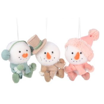 Cosy @ Home Snowman Hat Scarf 3 Types 12x9x13cm Hanging