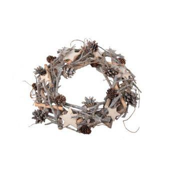 Cosy @ Home Xmas Wreath Nature Wood Star Dia30cm