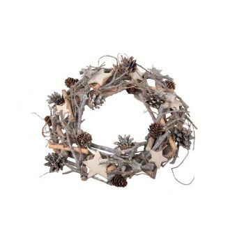 Cosy @ Home Xmas Wreath Nature Wood Star Dia38cm