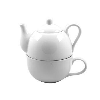 Cosy & Trendy Teaset White - Cup+teapot D10xh16cm