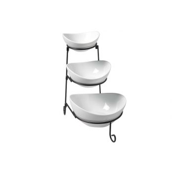 Cosy & Trendy Buffet Etagere Black With 3 Dishes-white