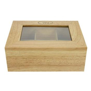 Cosy & Trendy Teabox Rect. Wood 6 Compart. 23,8x18,8cm