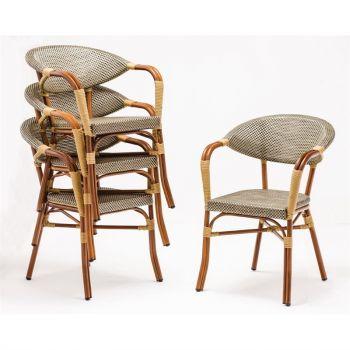 Bolero kunststof rotan stoel met armleuning lichtbruin