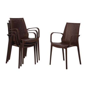 Bolero kunststof rotan stoel met armleuning bruin