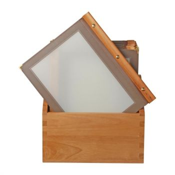 Securit menumappen set met houten box A4 bruin