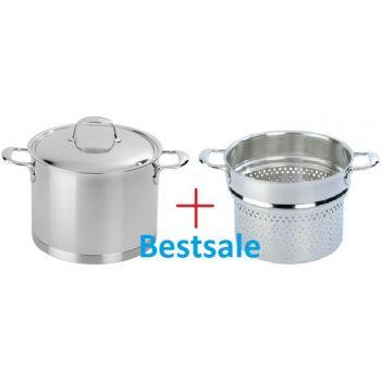 "DEMEYERE 41395 Atlantis Stockpot with lid 20 cm/7.9"" + for free pasta insert - 20cm/7,9''"