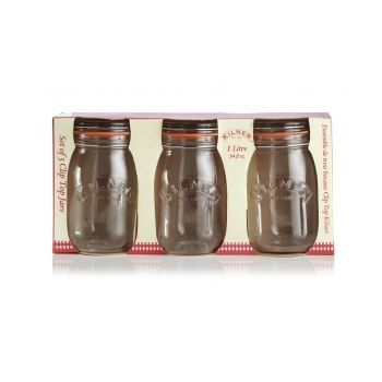 KILNER RAY-0025-485 Round cliptop jar 1L Set of 3pcs