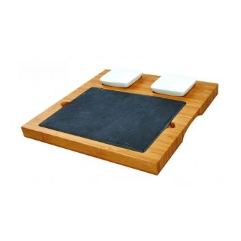 Bamboo Serving Board With Slate & Bowls 29x29x2,4 cm
