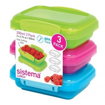 Lunch Three Pack Coloured 200ml