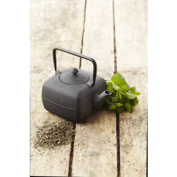 Point-Virgule square teapot in cast iron with strainer black 400 ml