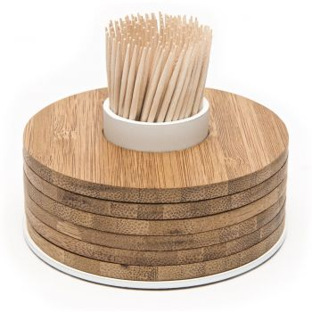 Point-Virgule bamboo glass coasters 6 pieces on toothpick holder white