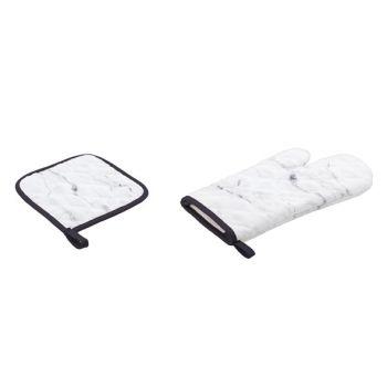 Set glove and pot mat marble printing
