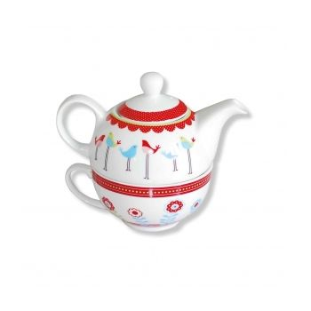 Tea for one, Birds, blue & red GIFT
