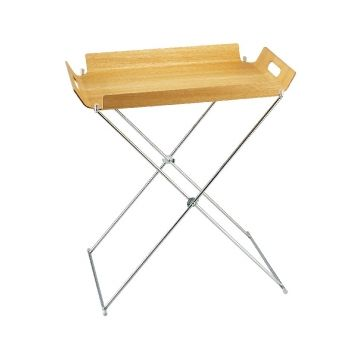 Living 1155 Fram Tray Table with Metal Leg Willow Wood